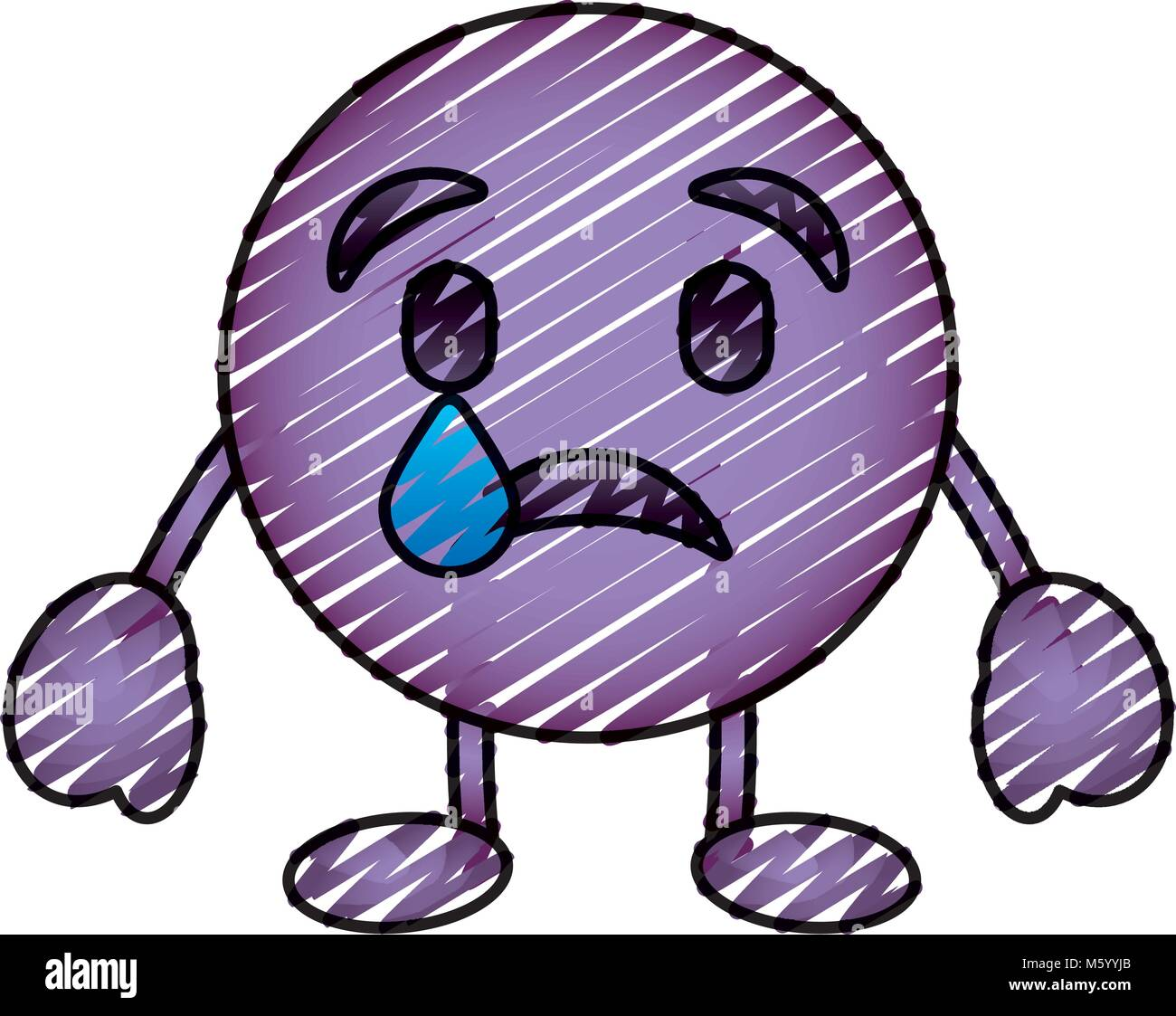 purple emoticon cartoon face depressive tear character - Stock Vector