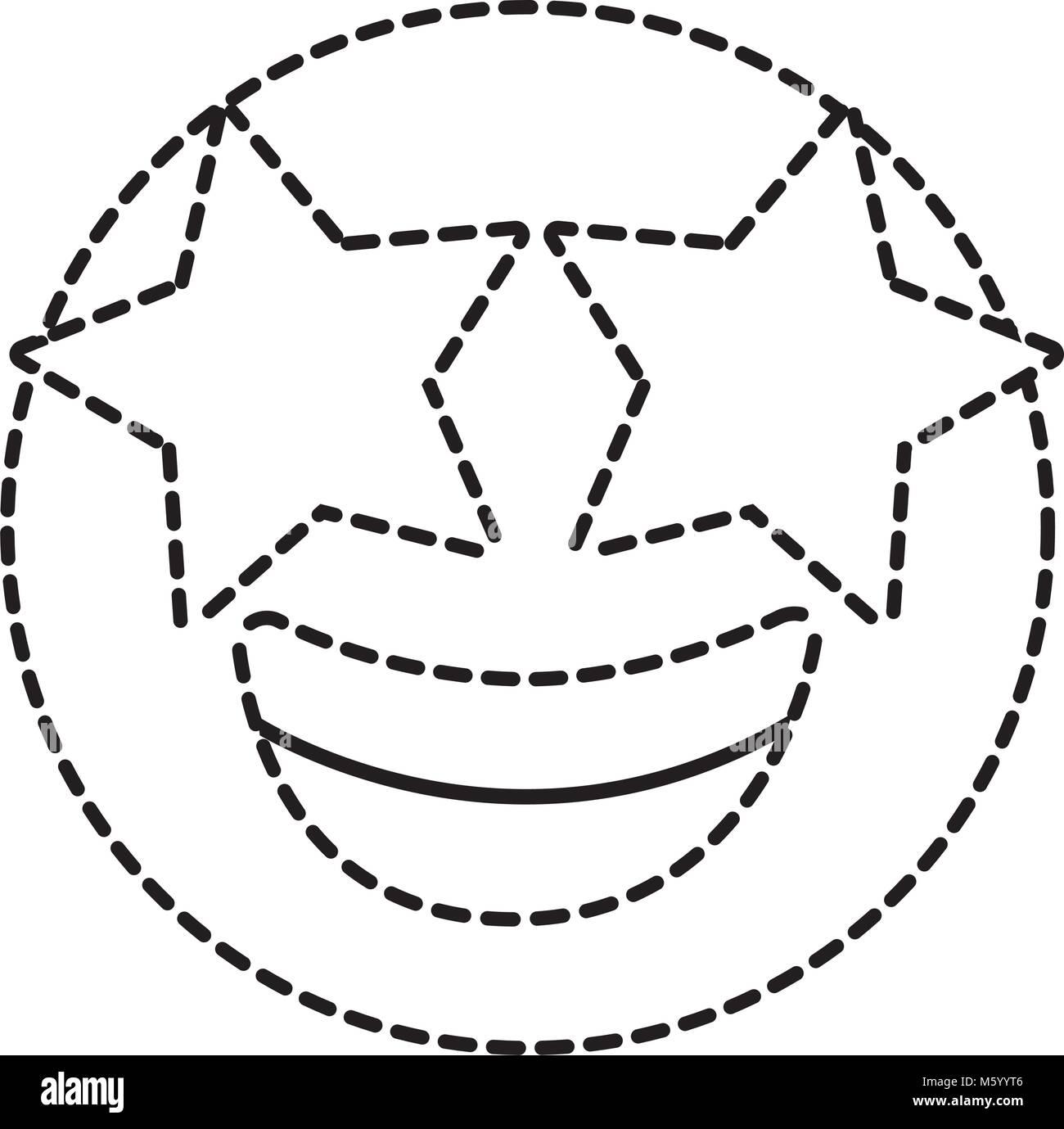 Cartoon Star Emoji Emoticon Character Black and White Stock