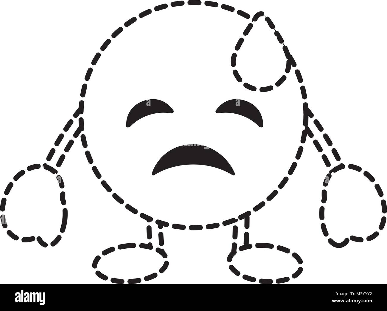 emoticon cartoon face depressive tear character - Stock Vector