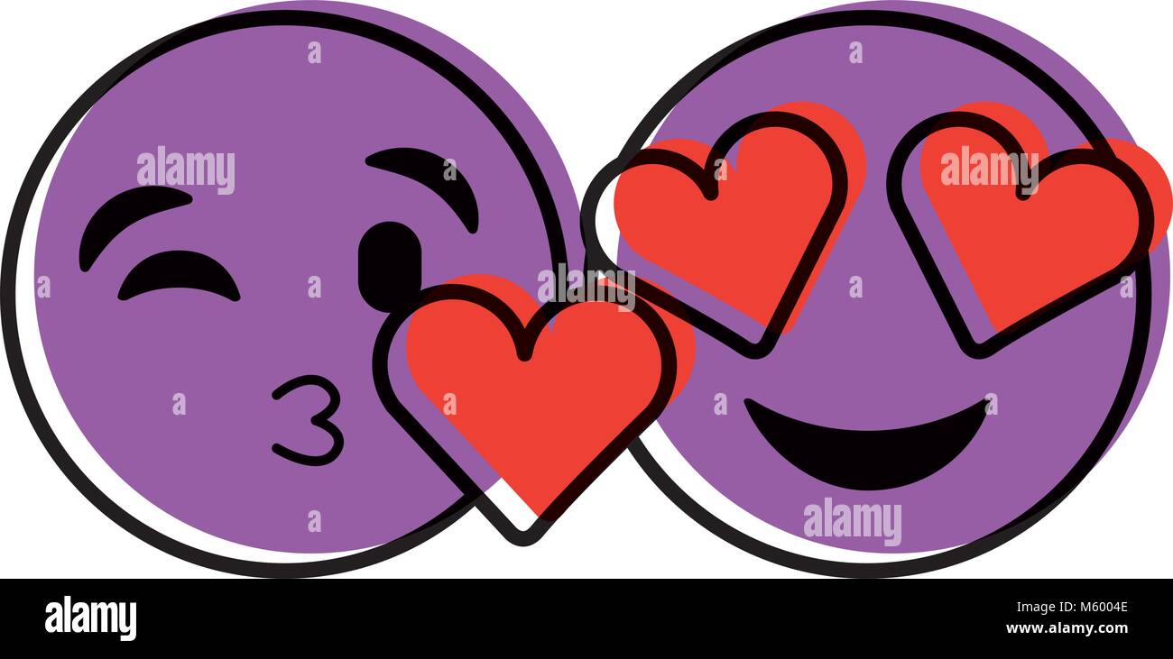 purple faces in love heart eyes and kiss Stock Vector Art