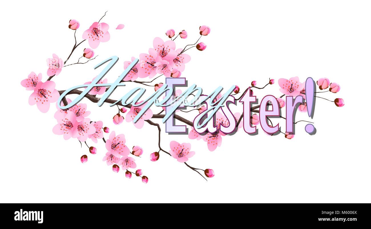 Happy Easter Greeting Card Cartoon Rabbit Eggs Stock Photos Happy