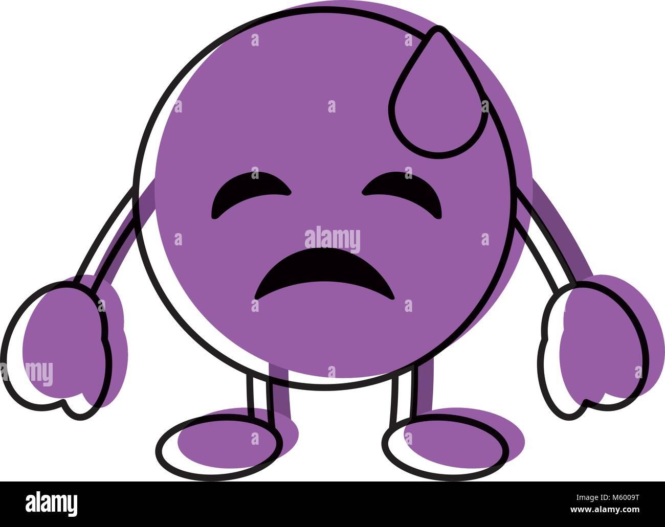 purple emoticon cartoon face depressive tear character - Stock Vector