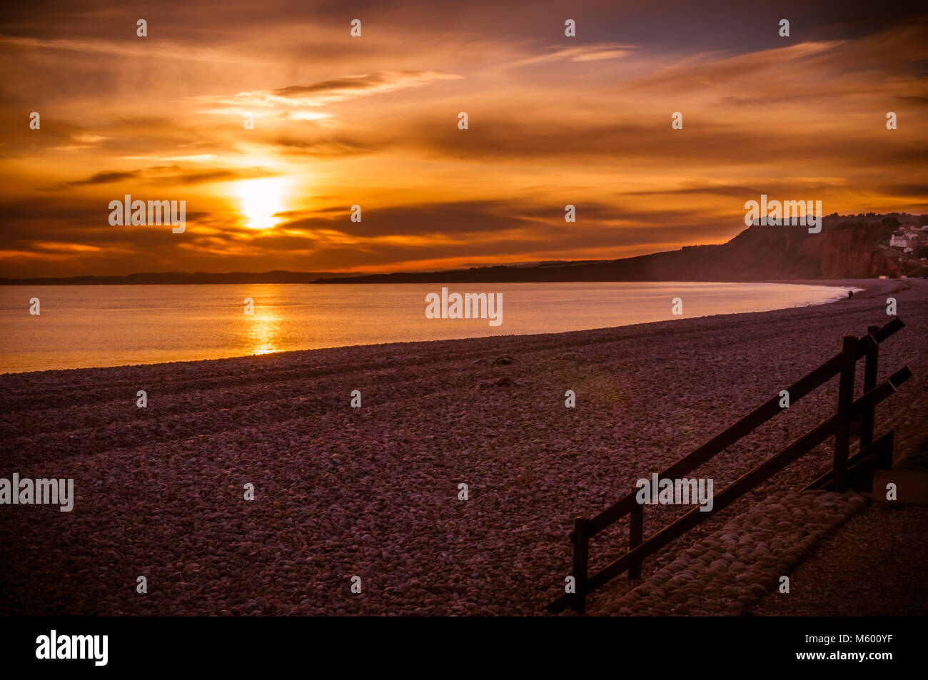 Budleigh Beach on a cold Winter Evening. - Stock Image