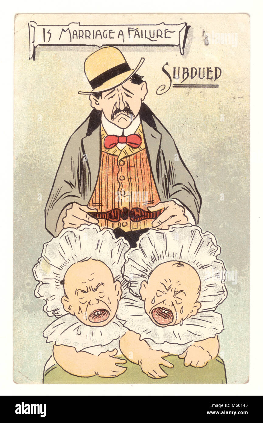 Edwardian comic anti-suffragette - is marriage a failure postcard, an early stay at home dad - posted 19  Oct. 1906, - Stock Image