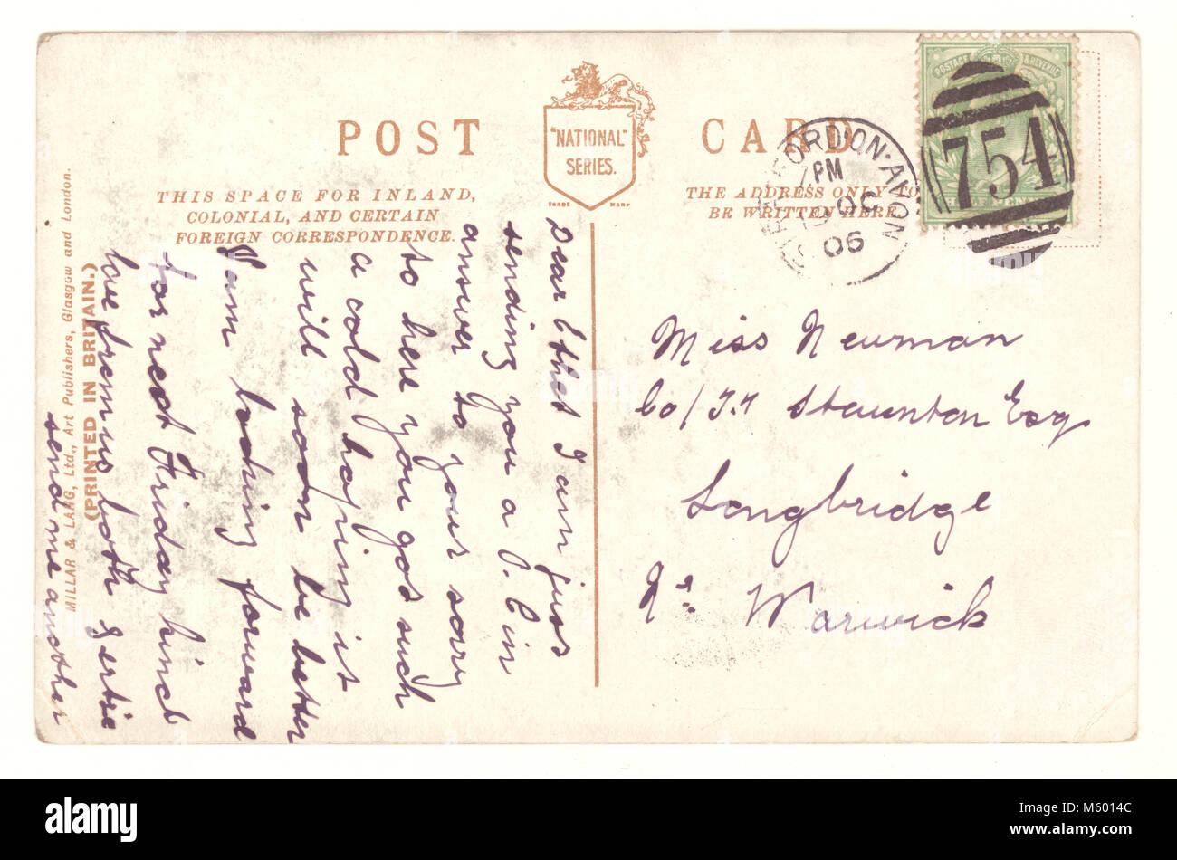 Reverse of Edwardian postcard, postally used, posted 19  Oct. 1906, U.K. - Stock Image