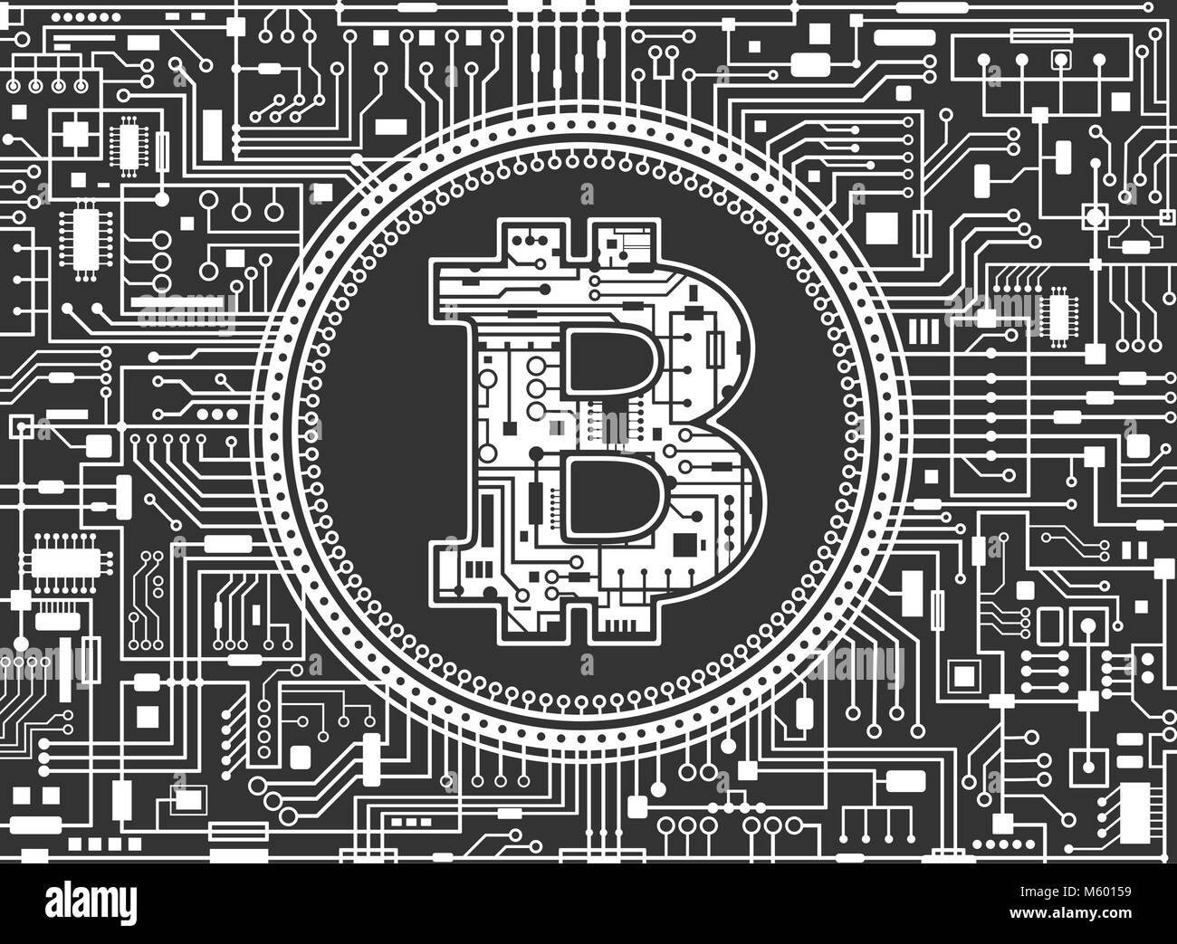 Bitcoin digital currency background - Stock Image
