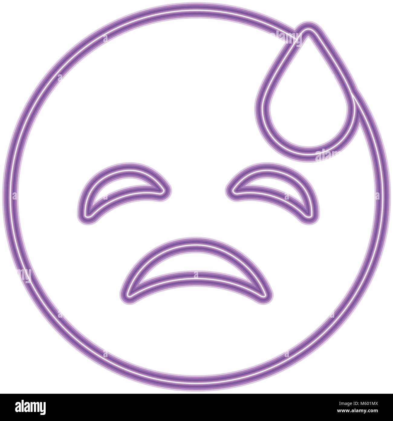 purple emoticon cartoon face depressive tear - Stock Vector