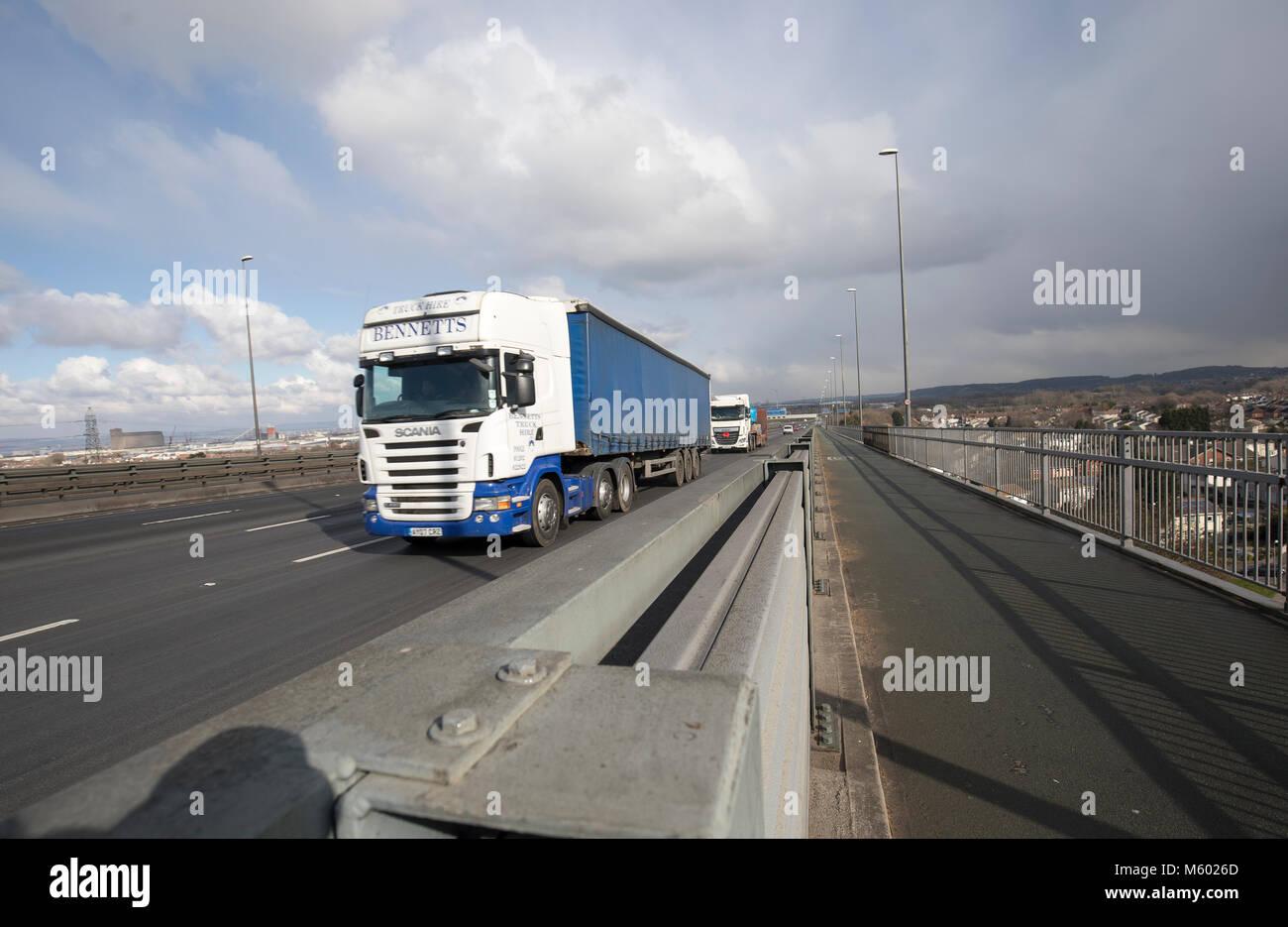 Road traffic crossing the Avonmouth bridge on the M5 motorway Stock Photo