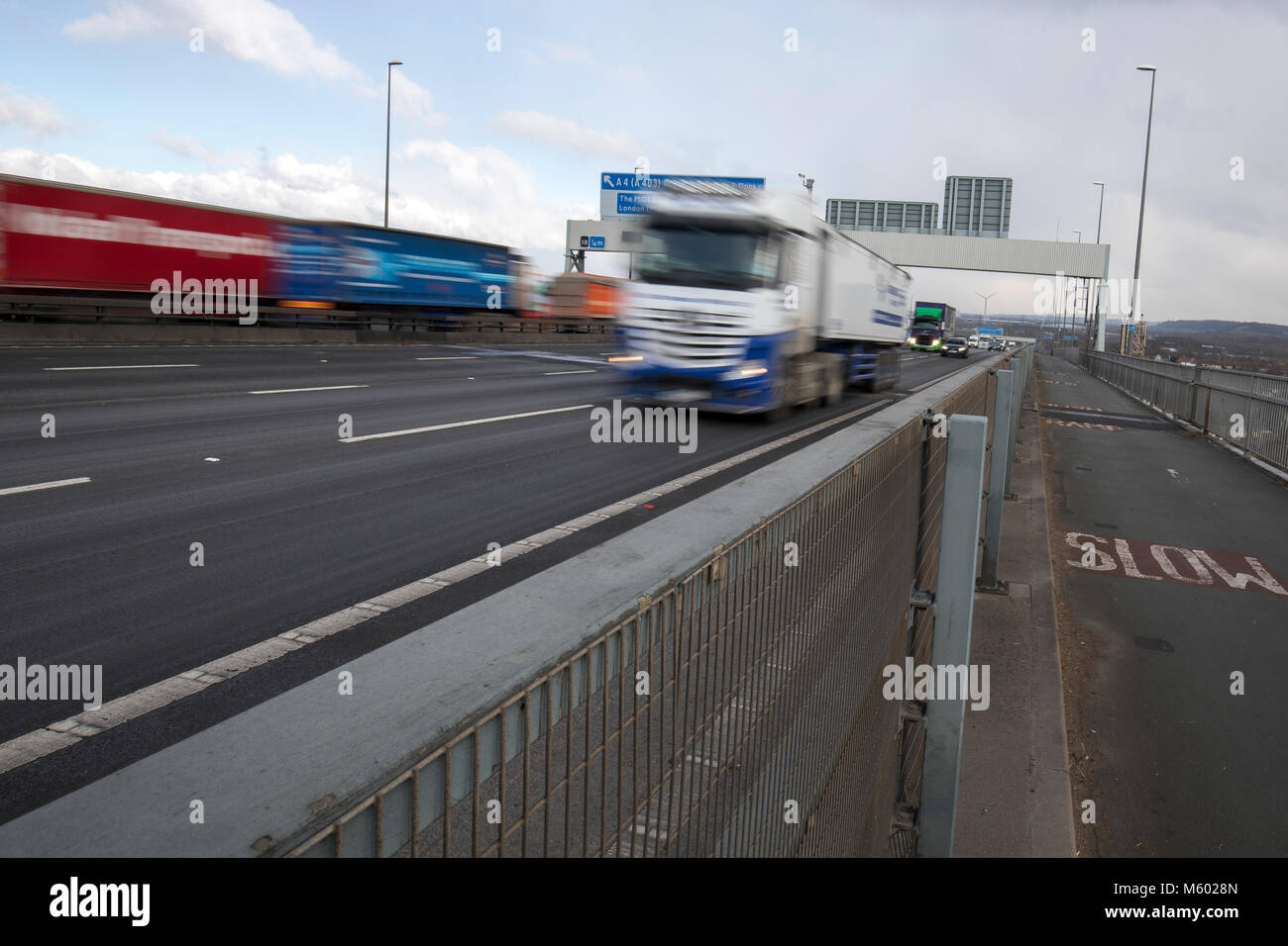 Road traffic crossing the Avonmouth bridge on the M5 motorway Stock Photo