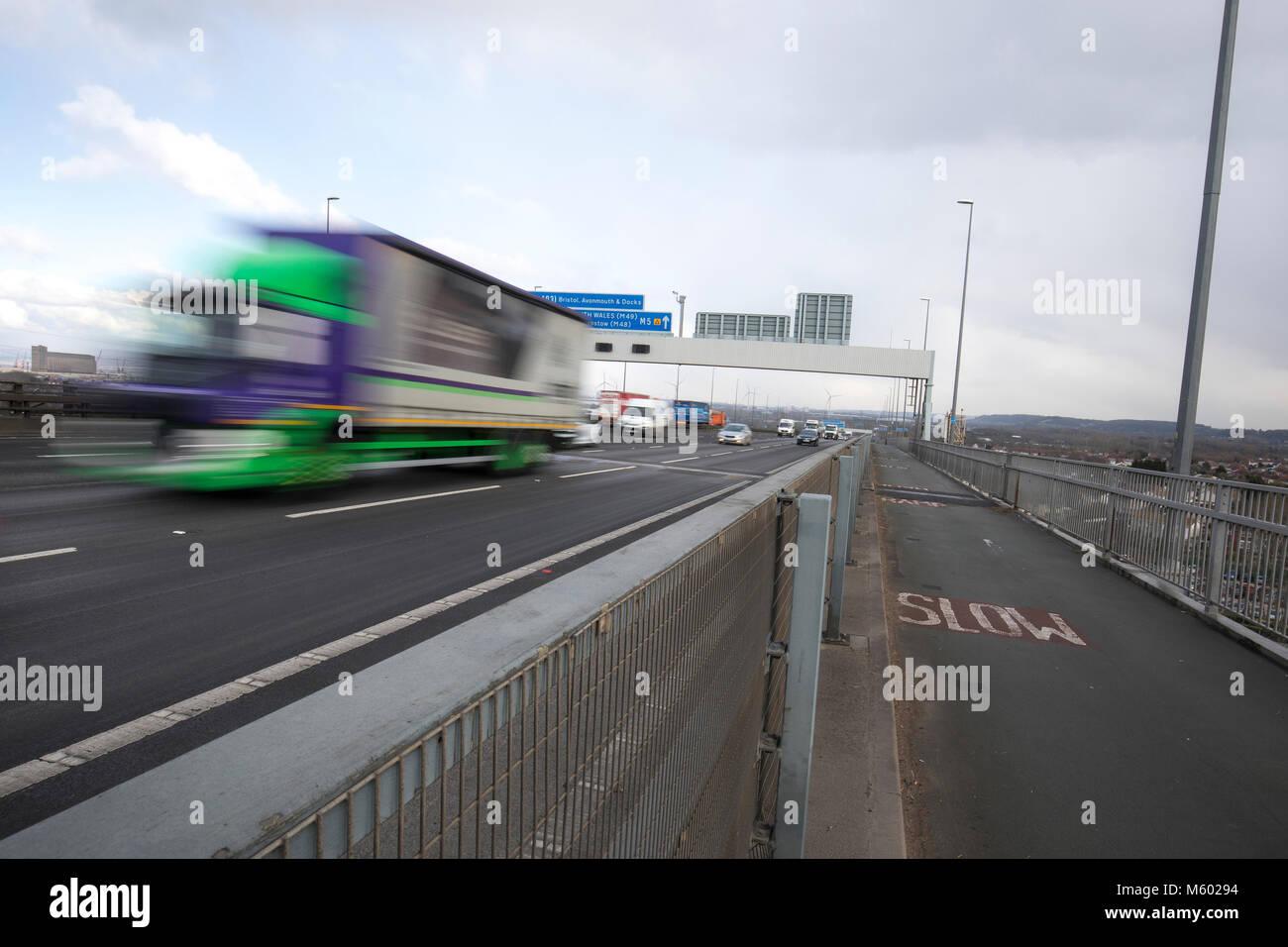 Road traffic crossing the Avonmouth bridge on the M5 motorway - Stock Image