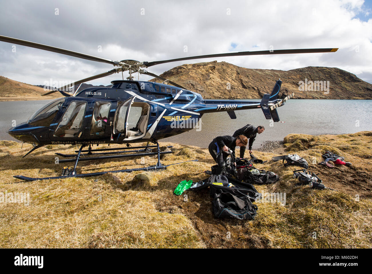 Heli-diving at a Mountain Lake, Iceland - Stock Image