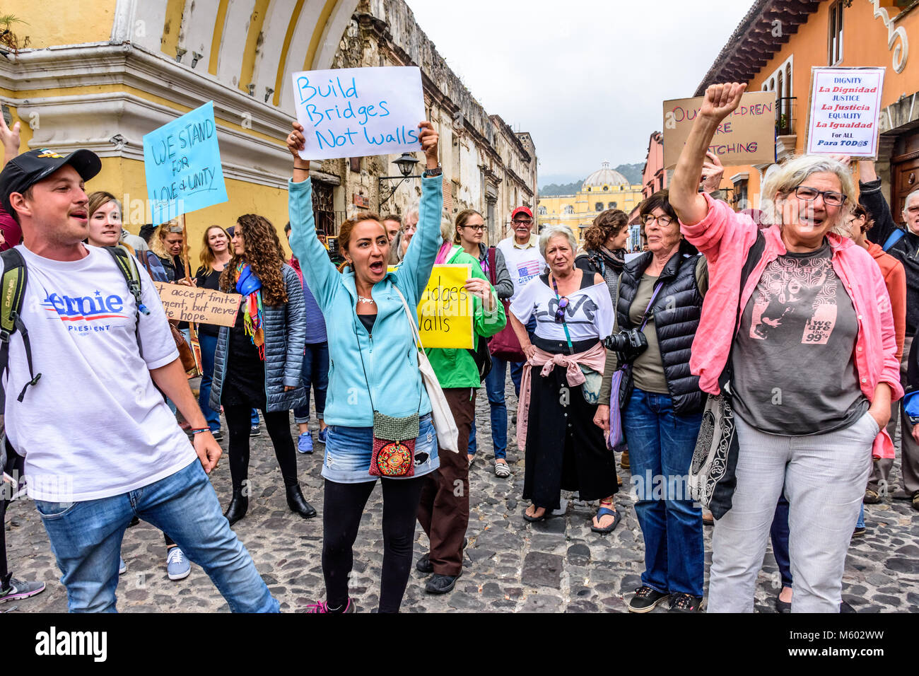 Antigua, Guatemala - January 21, 2017: People holds sign in peaceful Women's March as part of global protest - Stock Image