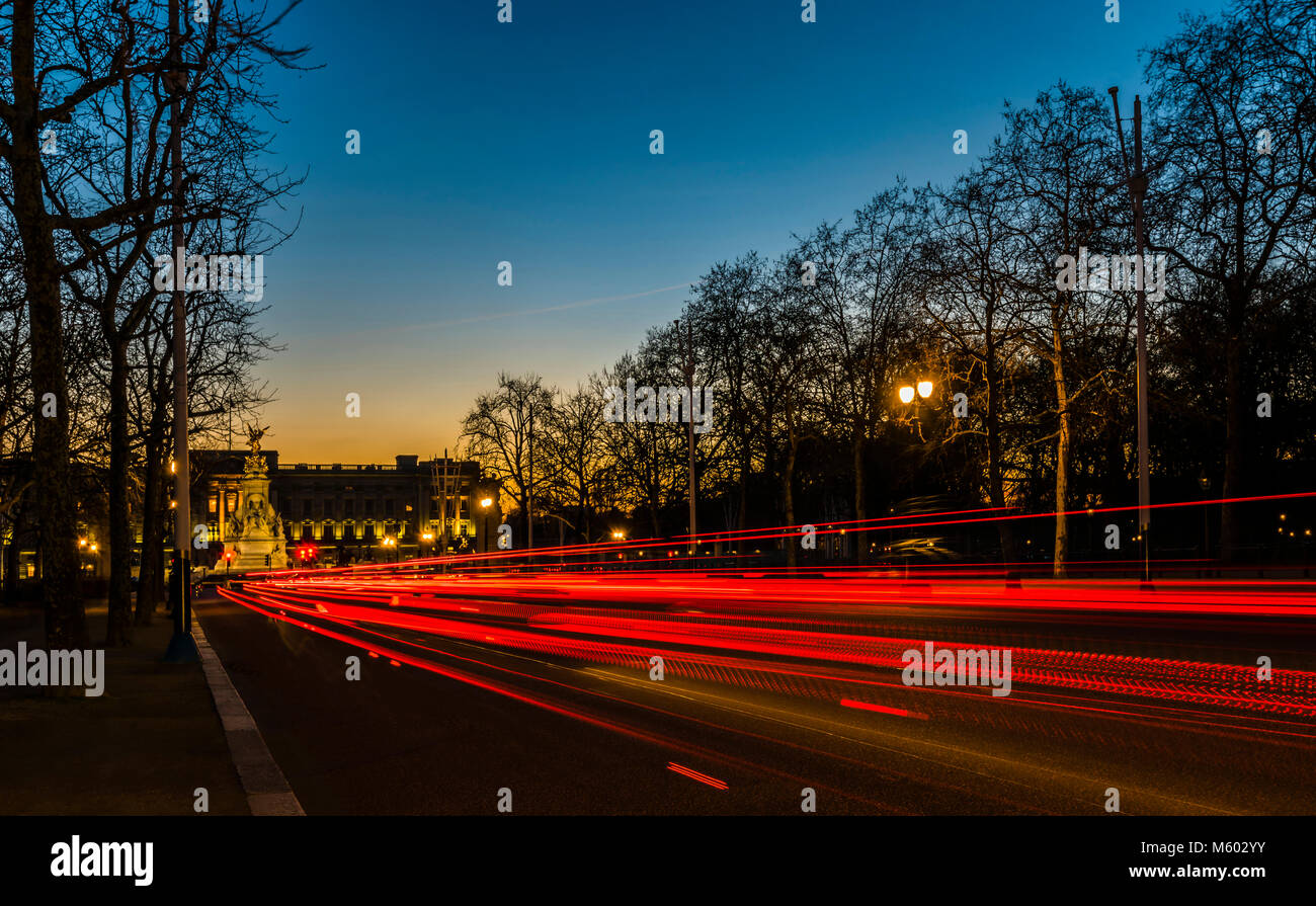 Buckingham Palace after Sunset, from The Mall, London, UK Stock Photo