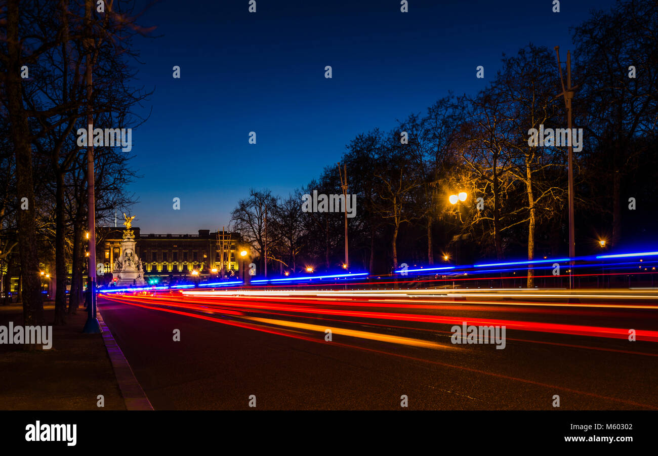 Buckingham Palace at Night from The Mall, London, UK - Stock Image
