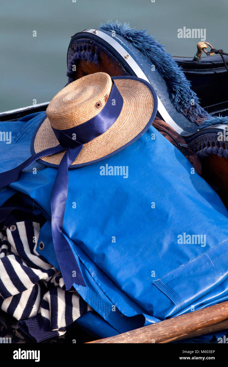 Gondolier straw boater hat, Venice, Veneto, Italy - Stock Image