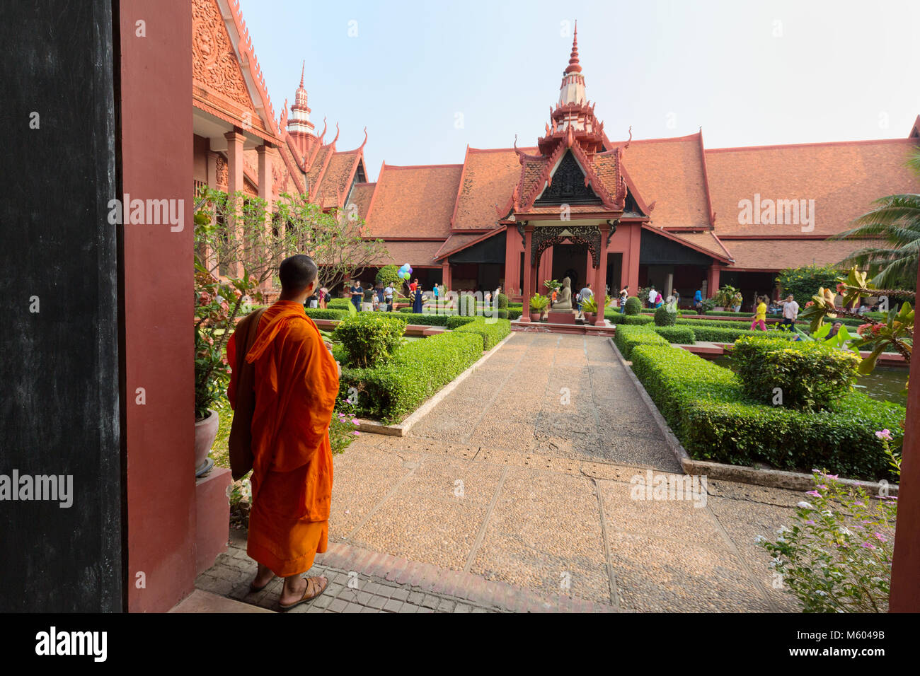 Cambodia  monk in the garden of the National Museum of Cambodia, Phnom Penh, Cambodia Asia - Stock Image