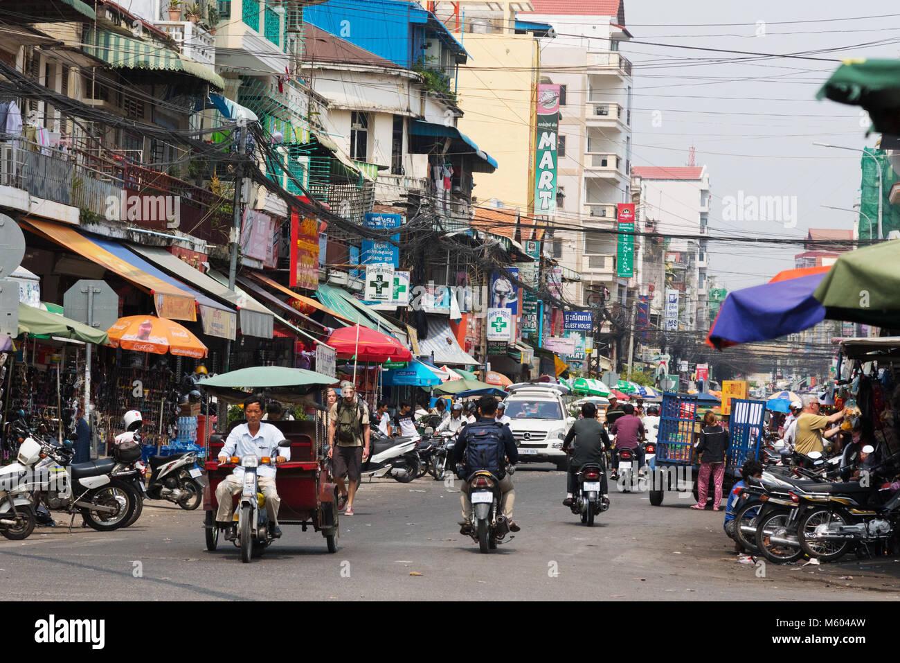 Phnom Penh Cambodia - Busy street view, with motorcycles, Phnom Penh, Cambodia Asia - Stock Image