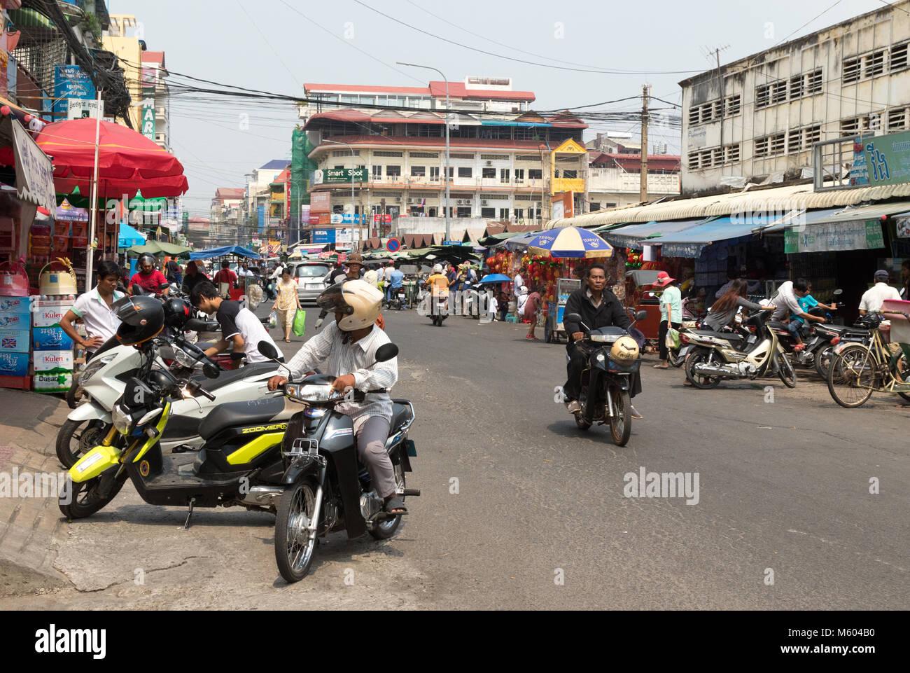 Cambodia Phnom Penh - Busy street view, with motorcycles, Phnom Penh, Cambodia Asia - Stock Image