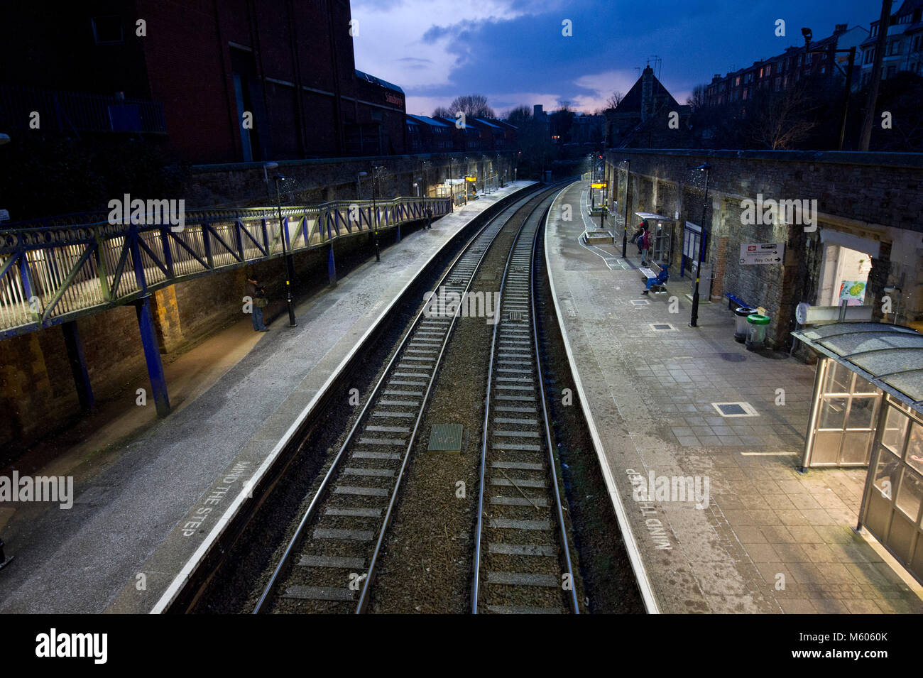 Clifton Down railway station, Bristol, showing commuters in rush hour Stock Photo