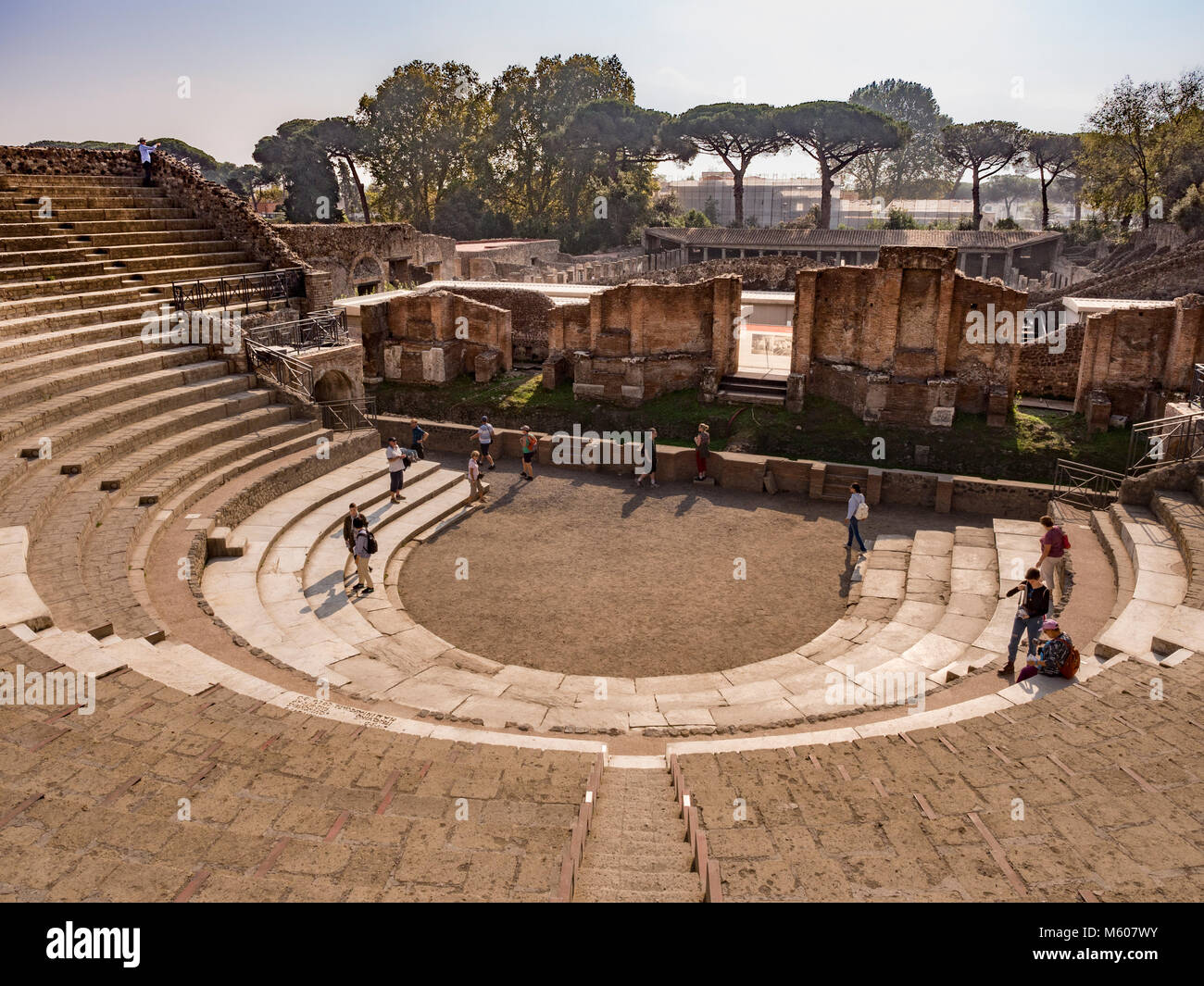The Large Theatre  showing The cavae (audience seating area), Pompeii ruins, Italy. - Stock Image