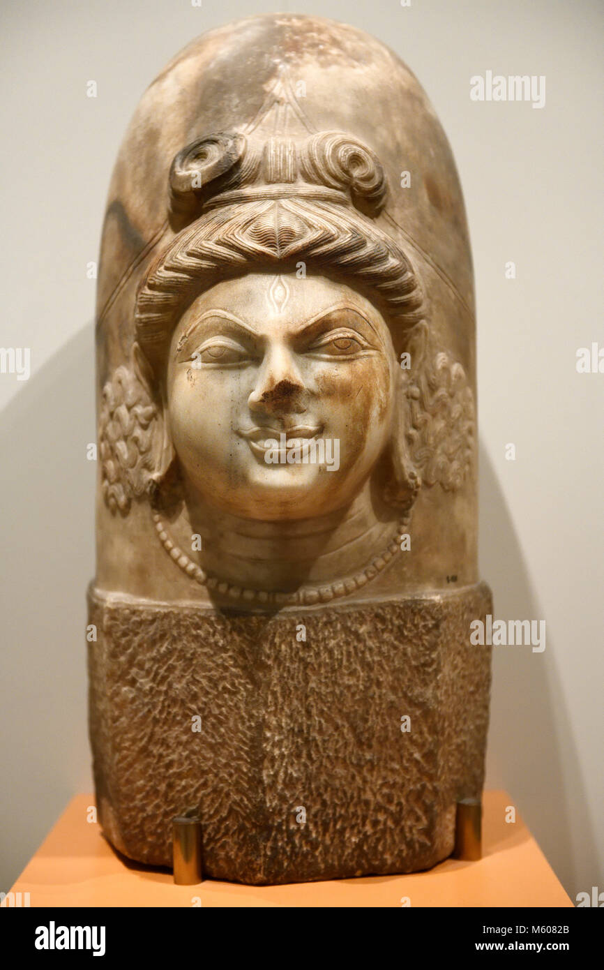 Marble sculpture of the Hindu God Shiva as the abstract Linga with one face in the Kashmiri style 9th Century - Stock Image