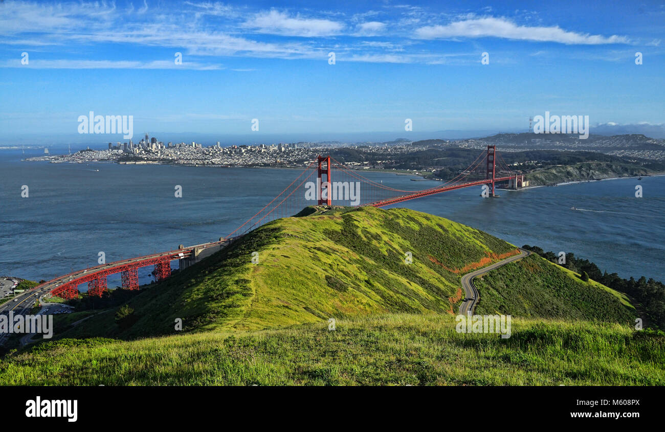 Views of the Golden Gate Bridge from Slacker Hill in Marin County,california - Stock Image