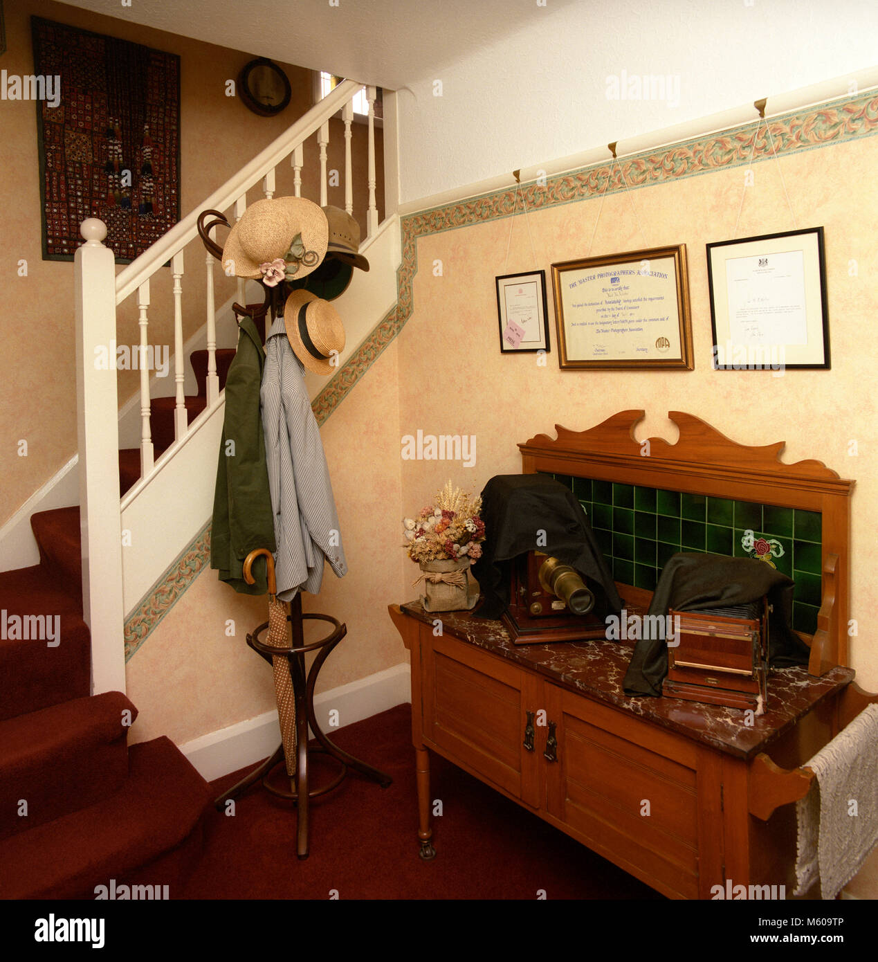 1980s Interior Design, 1920s house hallway and stairs Stock Photo ...