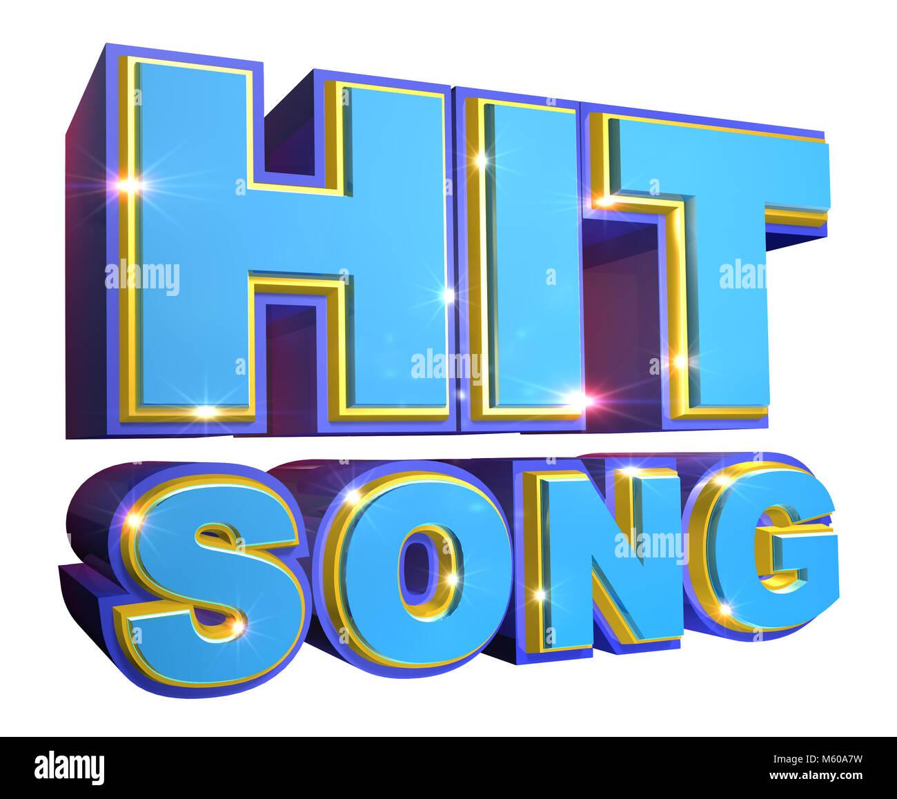 Blue Hit Song Logo - 3d illustration - Stock Image