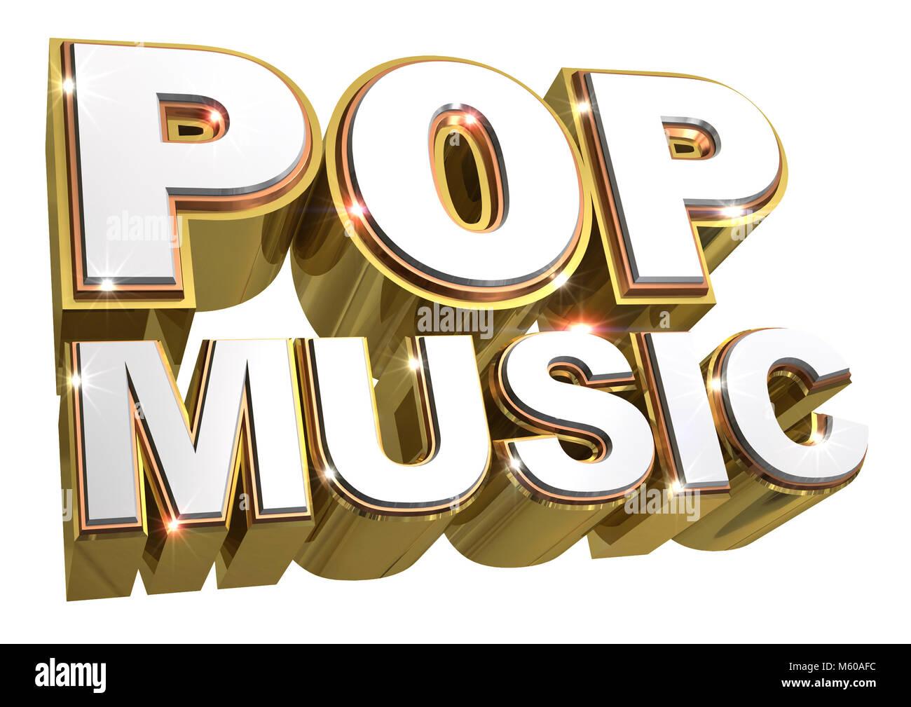 Golden Pop music logo - 3d illustration Stock Photo