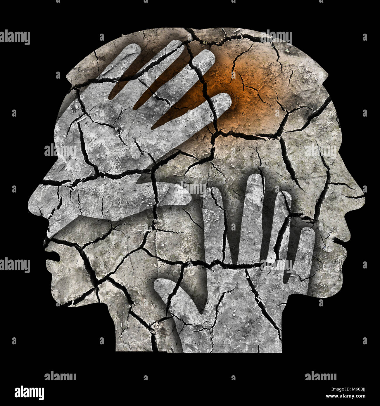 Schizophrenia male head silhouette. Man holding his head.Photo-montage with Dry cracked earth symbolizing schizophrenia - Stock Image