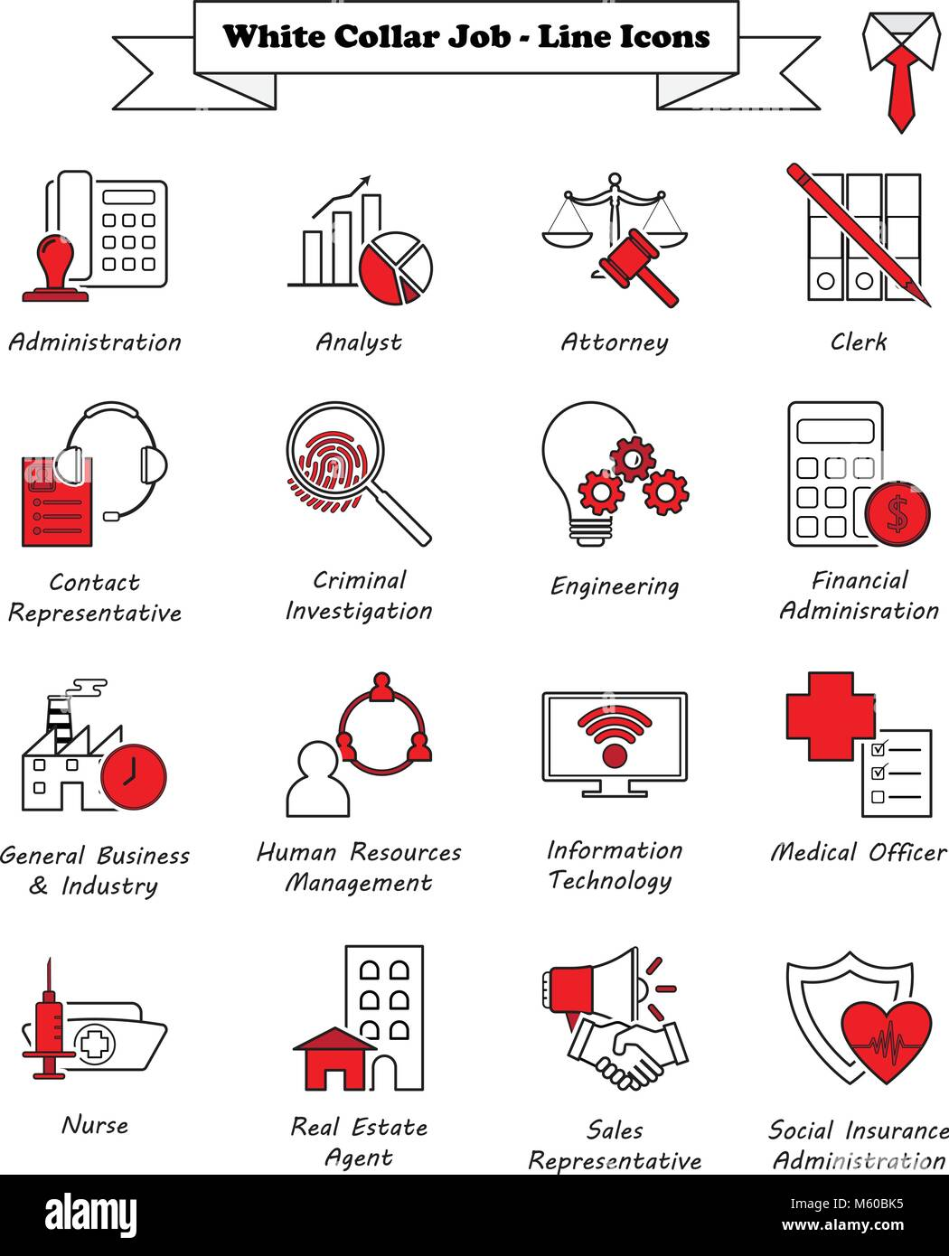 Vector Illustration Ready-To-Use 16 White Collar Job - Line Icons Designed as Multiple Professions Involved In Professional, Stock Vector