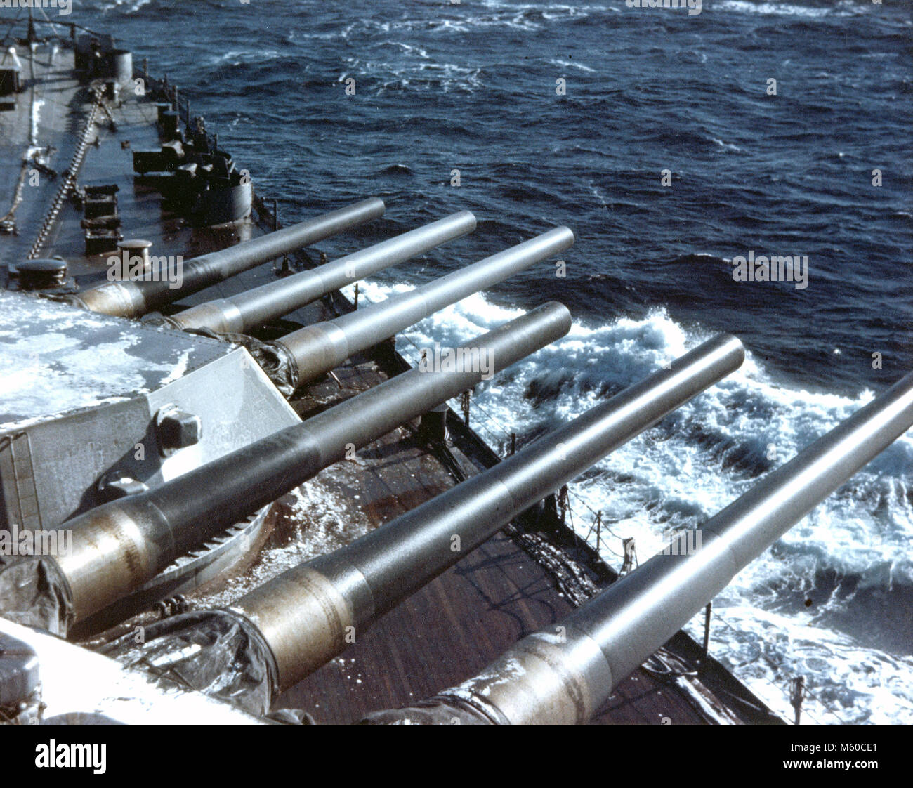 USS ALABAMA (BB-60) The forward guns of the  American South Dakota class battleship about 1942 while part of the - Stock Image