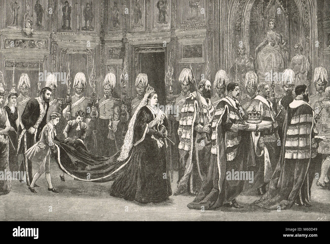 Queen Victoria Royal procession at the state opening of Parliament, 1886.    The short lived Third premiership of - Stock Image