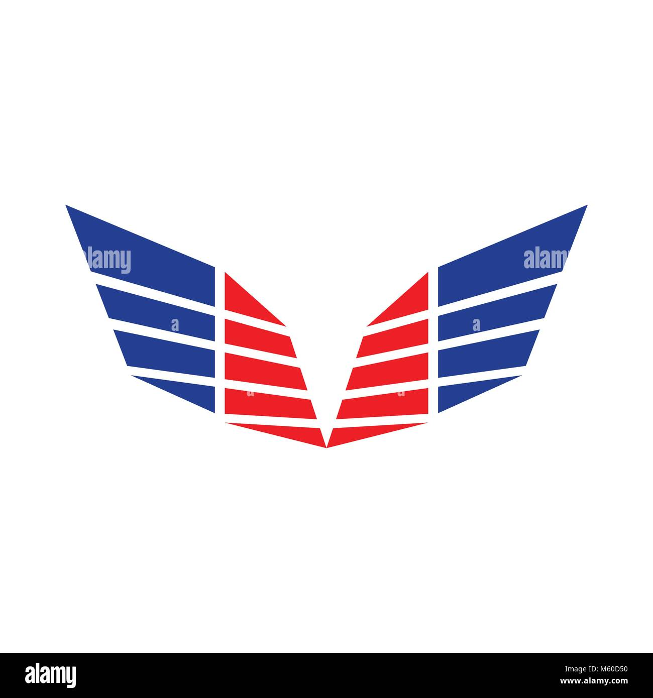 Abstract Sharp Wings Red Blue Colors Symbol Logo Design - Stock Vector