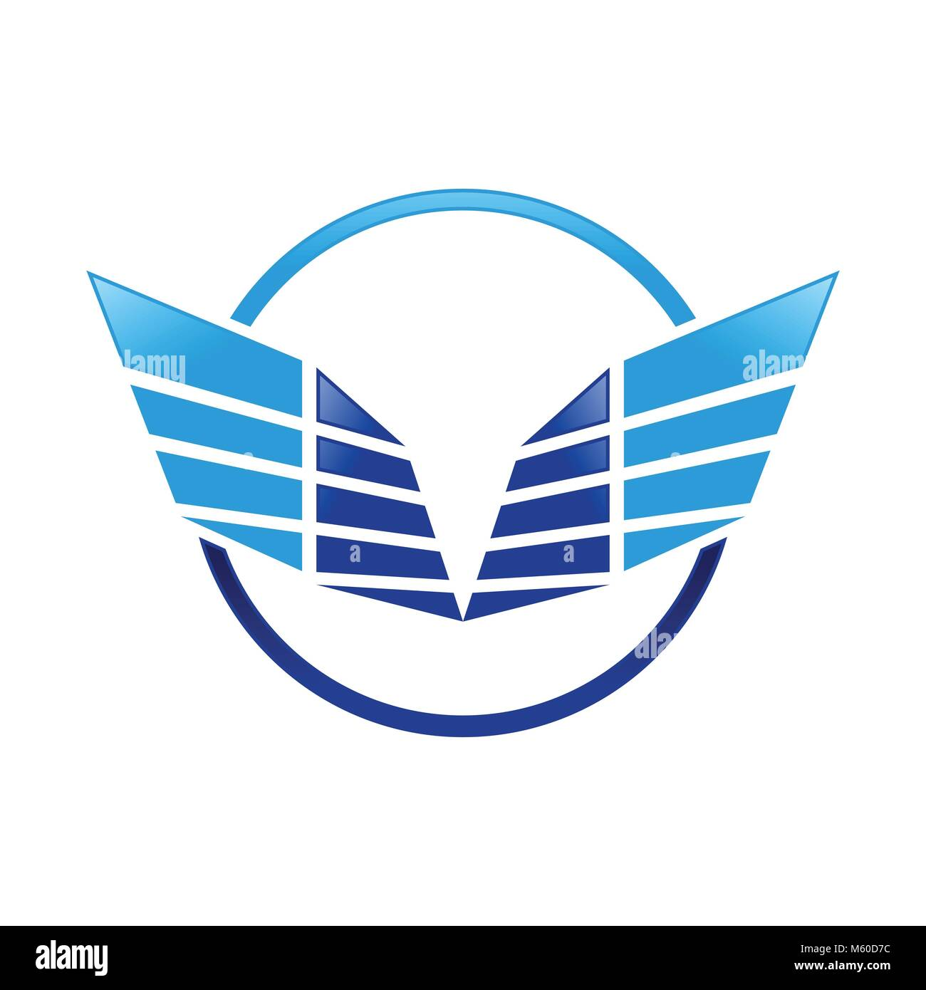 Abstract Sharp Wings Ring Blue Symbol Logo Design - Stock Vector