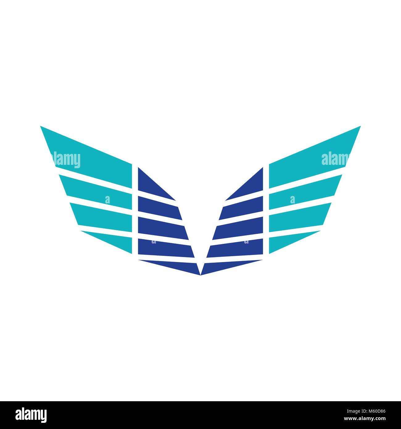 Abstract Sharp Wings Blue Colors Symbol Logo Design - Stock Vector