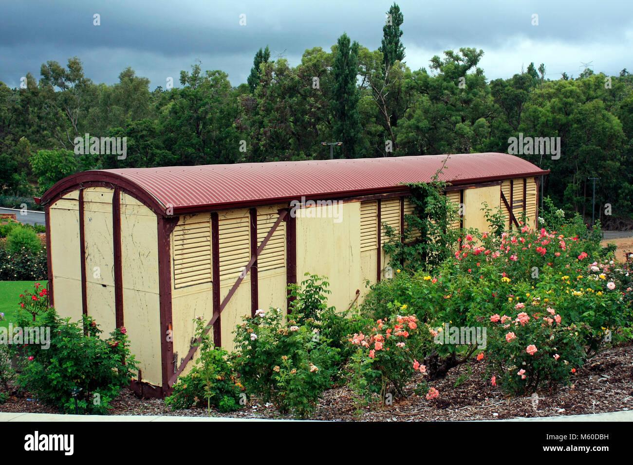 Railway Goods Wagon Garden Nursery Garden Shed Perth Hills Australia    Stock Image