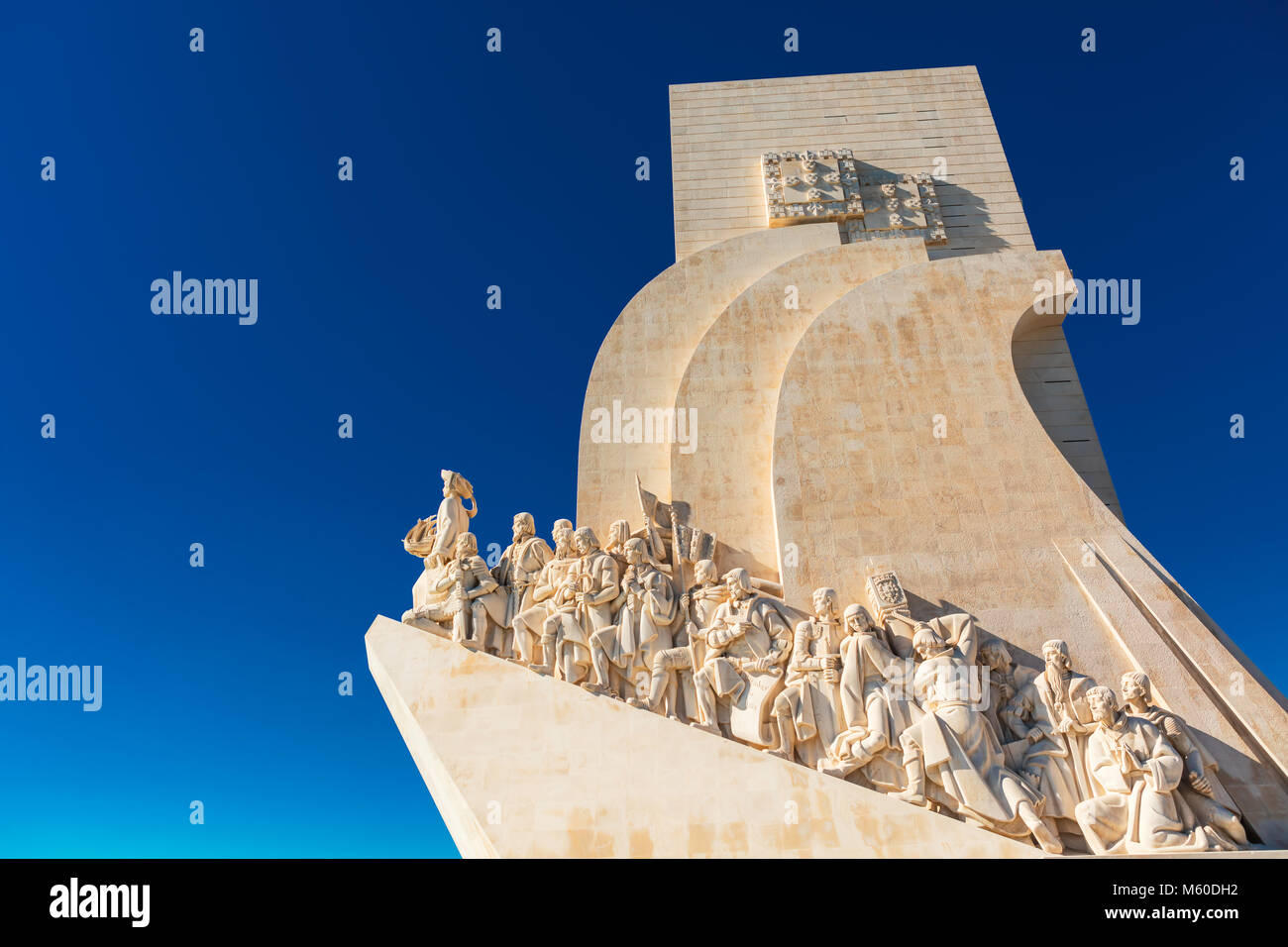 Detail of famous Monument of the Discoveries in Belem area of Lisbon, Portugal. - Stock Image