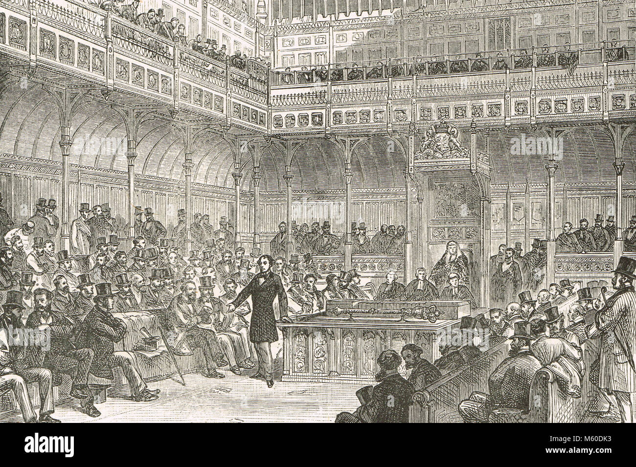Benjamin Disraeli introducing the Reform bill of 1867.  The Representation of the People Act - Stock Image