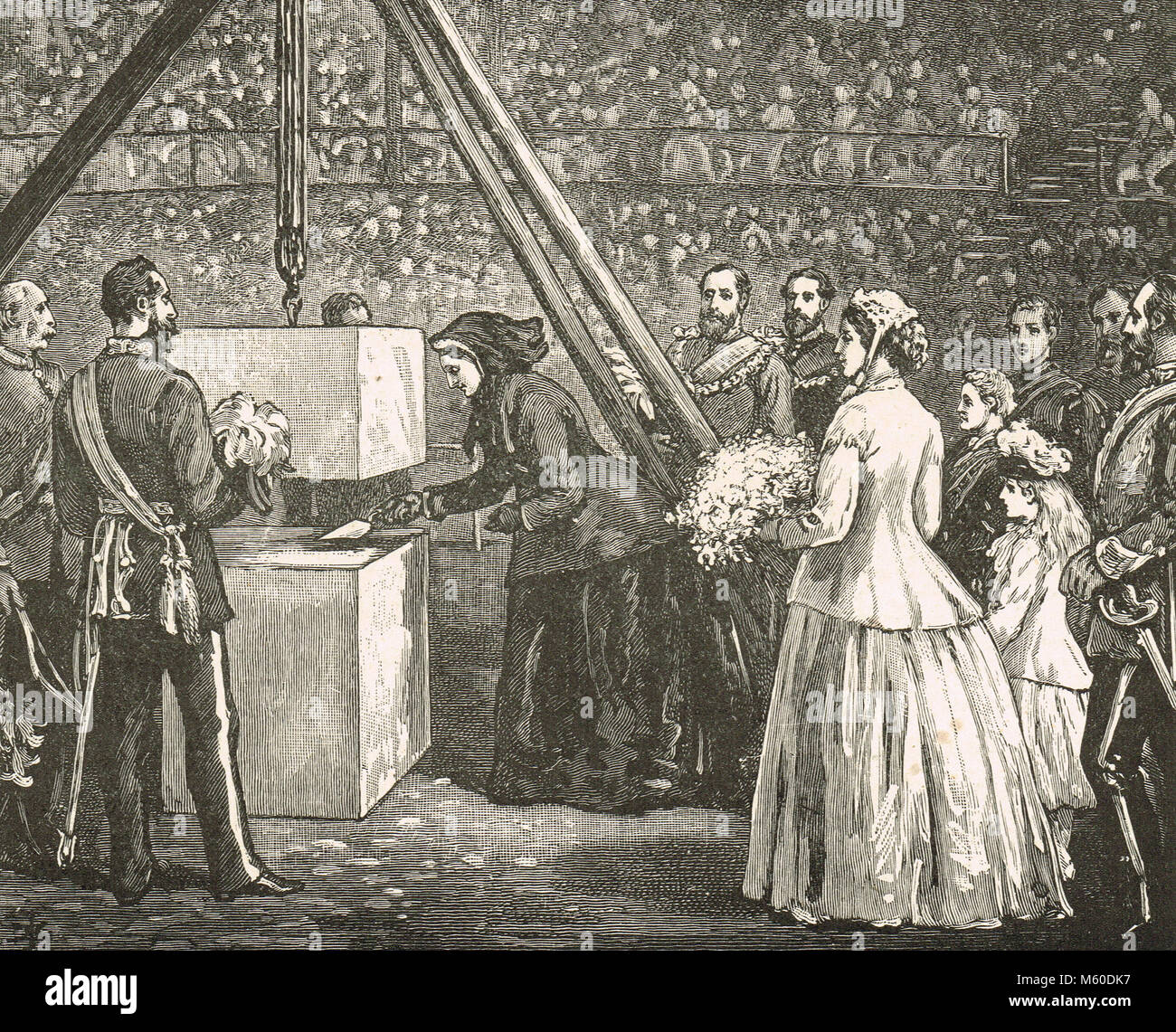 Queen Victoria laying the Foundation stone, Royal Albert Hall, 20 May 1867 - Stock Image