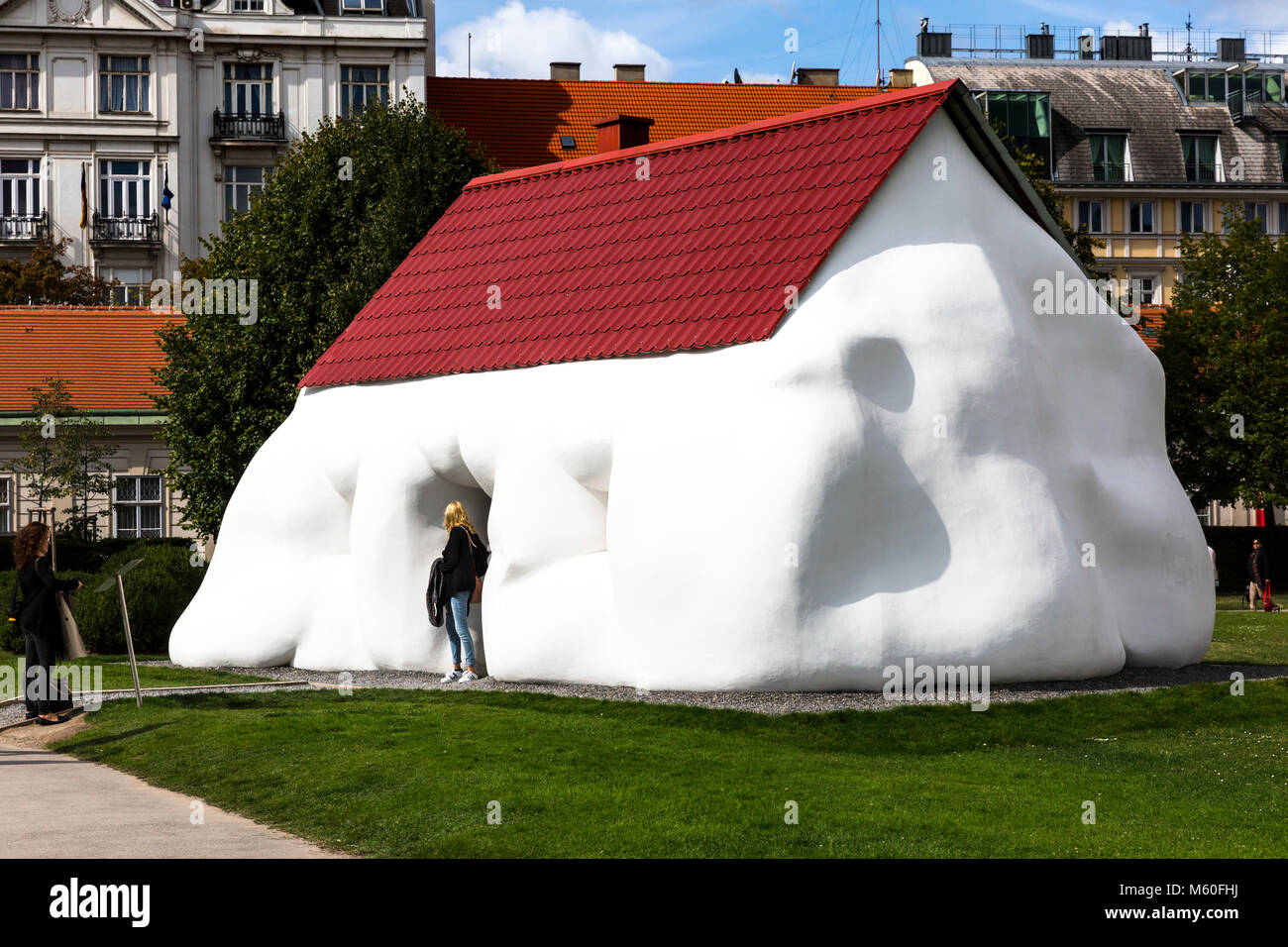 Erwin Wurm's Fat House sculpture on display at Belvedere Palace, Wien, Vienna, Austria. - Stock Image