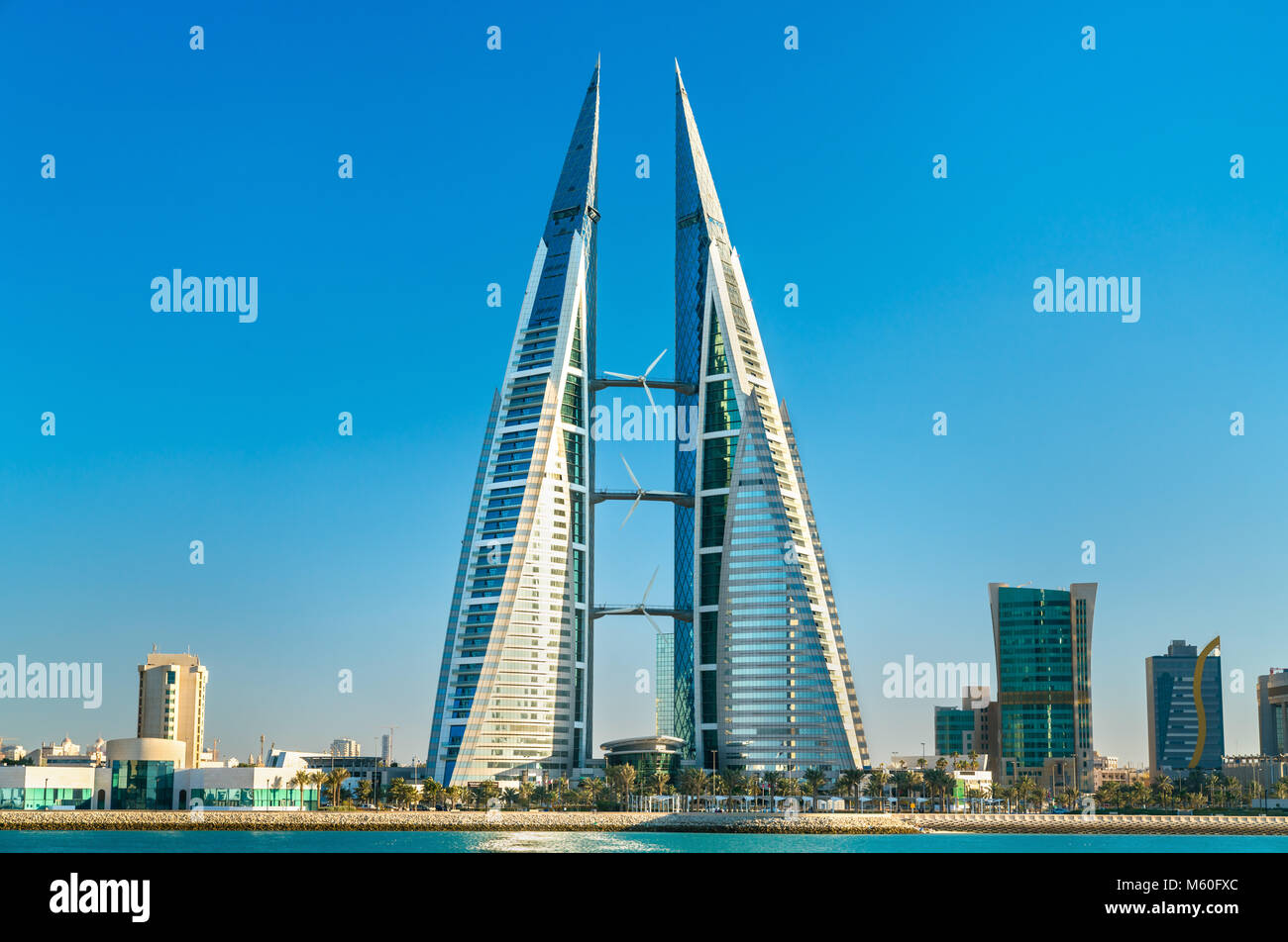 Bahrain World Trade Center in Manama. The Middle East - Stock Image