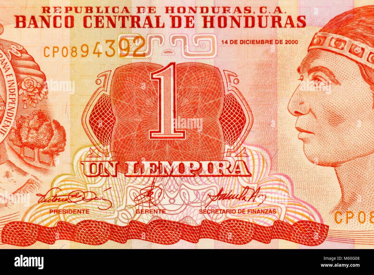 Honduras One 1 Lempira Bank Note - Stock Image