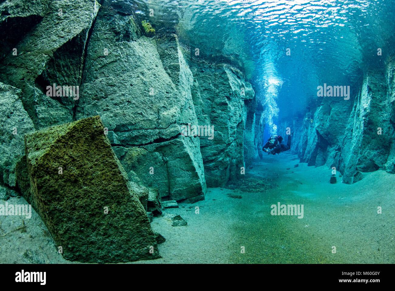 Scuba diving in Volcanic Crack Nesgja, Asbyrgi National Park, Iceland - Stock Image