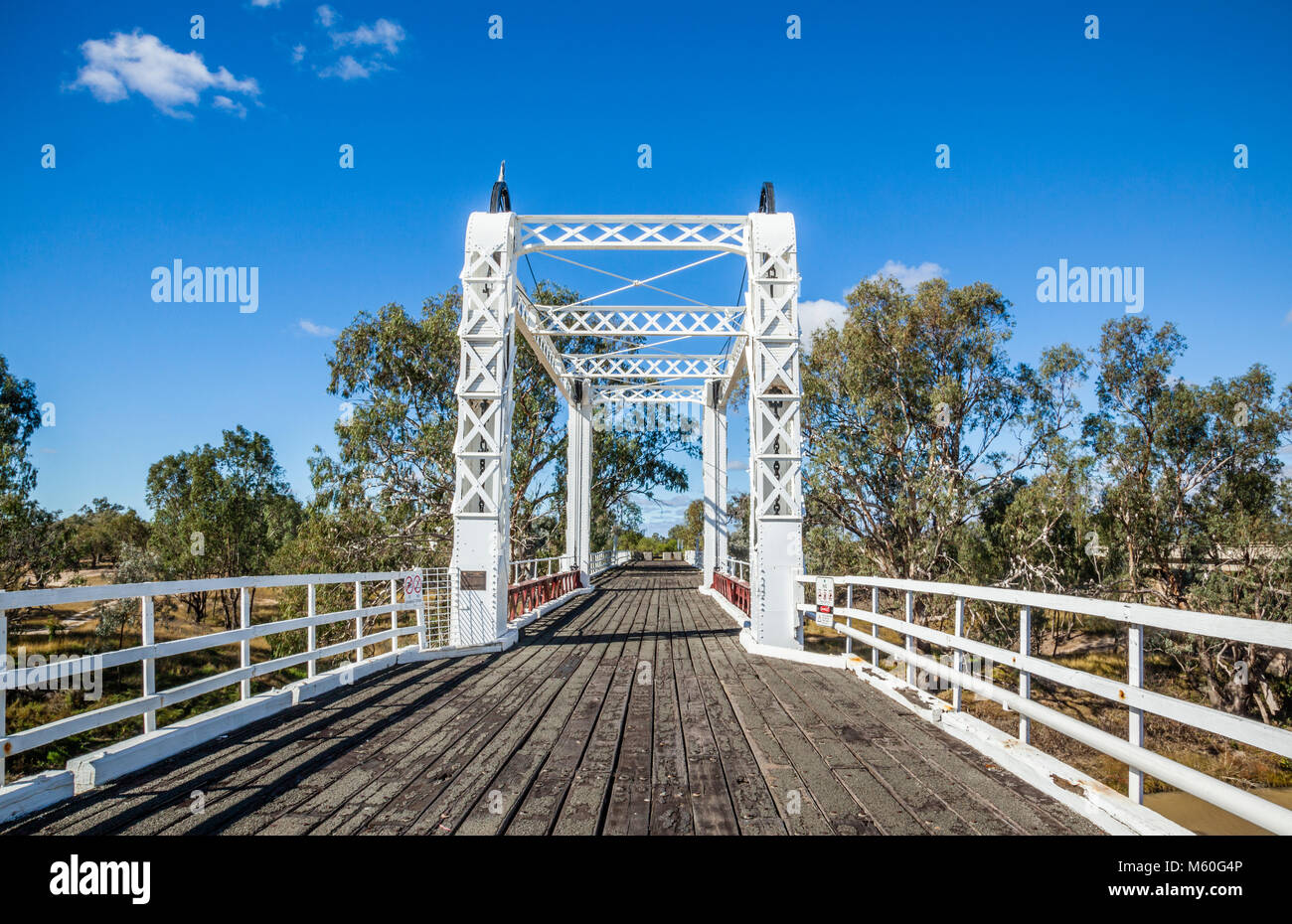 view of the Bourke Bridge over the Darling River at North Bourke, North West New South Wales, Australia. The old - Stock Image