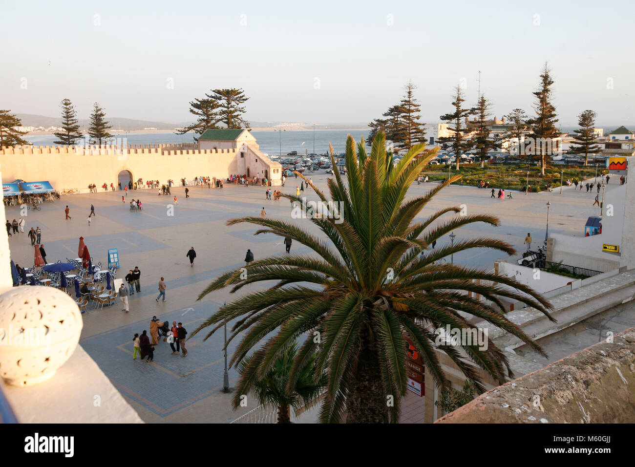 The main sqaure of the beachside city of Essaouira, Morocco sits just outside the city's ancient walls. - Stock Image