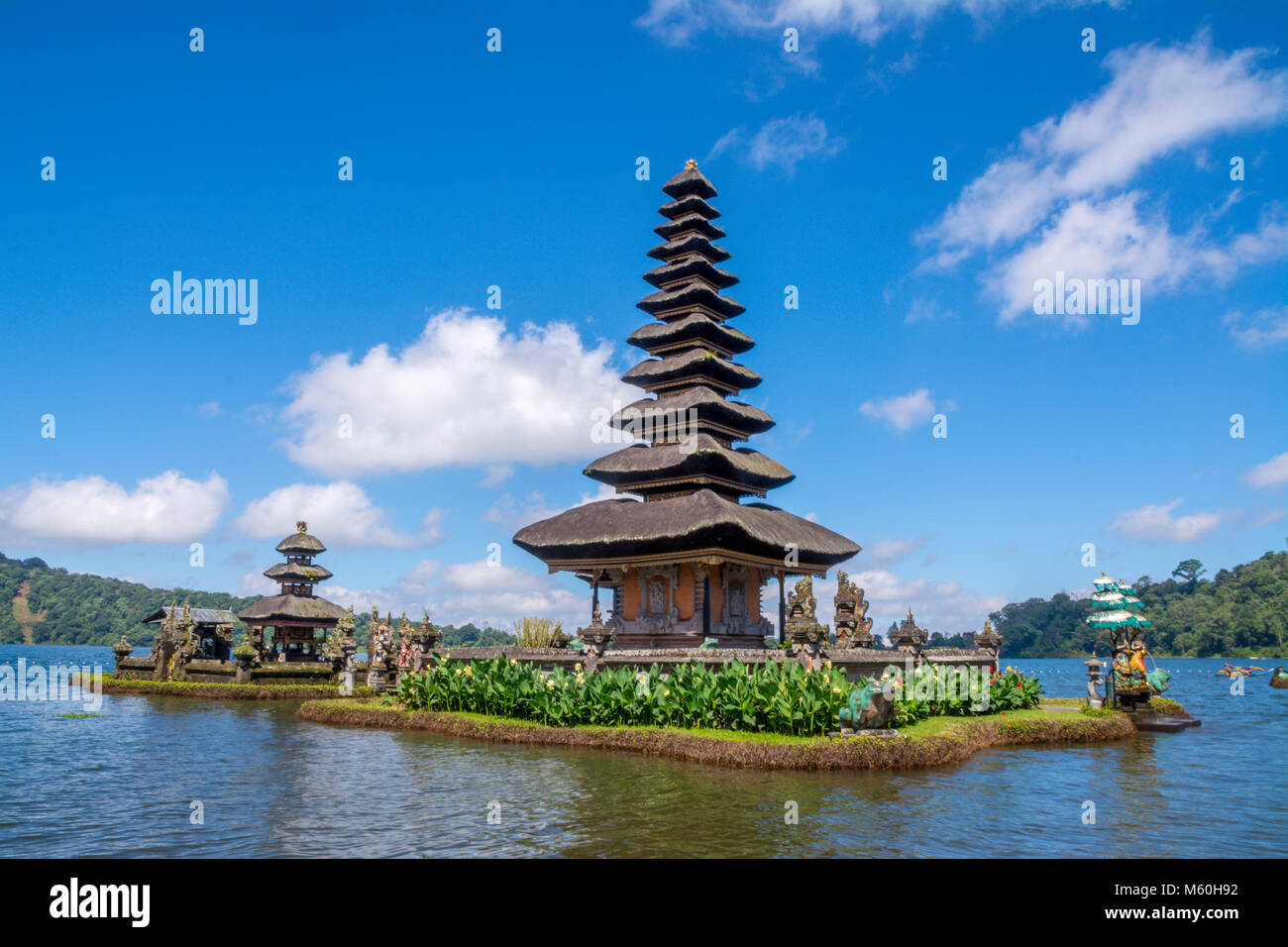 Pura Ulun Danu Bratan at Bali, Indonesia - Asia, Bali, Indonesia, Lake Bratan Area, Pura Ulu Danau Temple Stock Photo