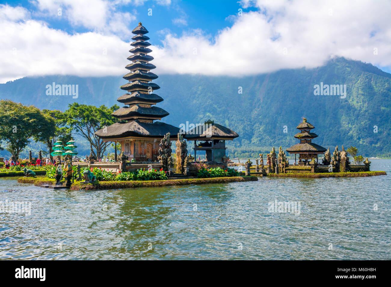Pura Ulun Danu Bratan at Bali, Indonesia - Asia, Bali, Indonesia, Lake Bratan Area, Pura Ulu Danau Temple Stock Photo