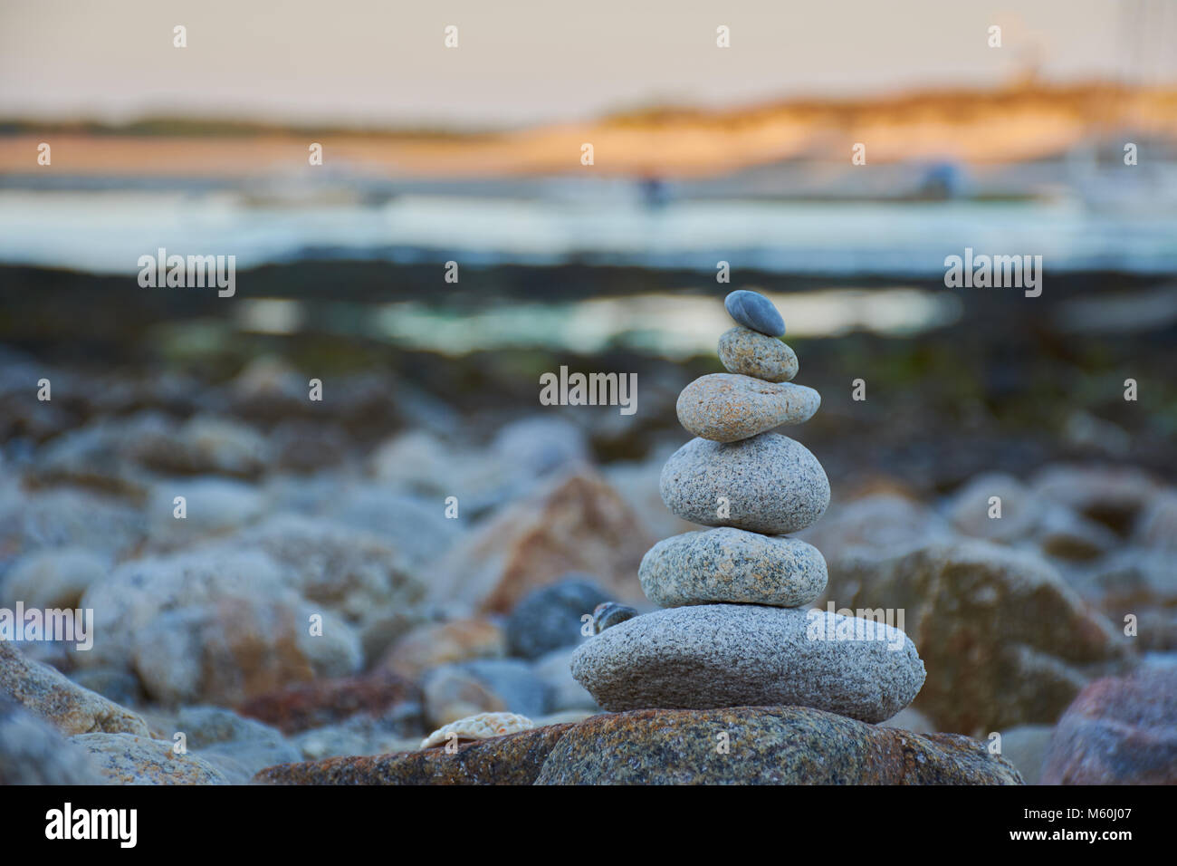 zen stone tower in Brittany - Stock Image
