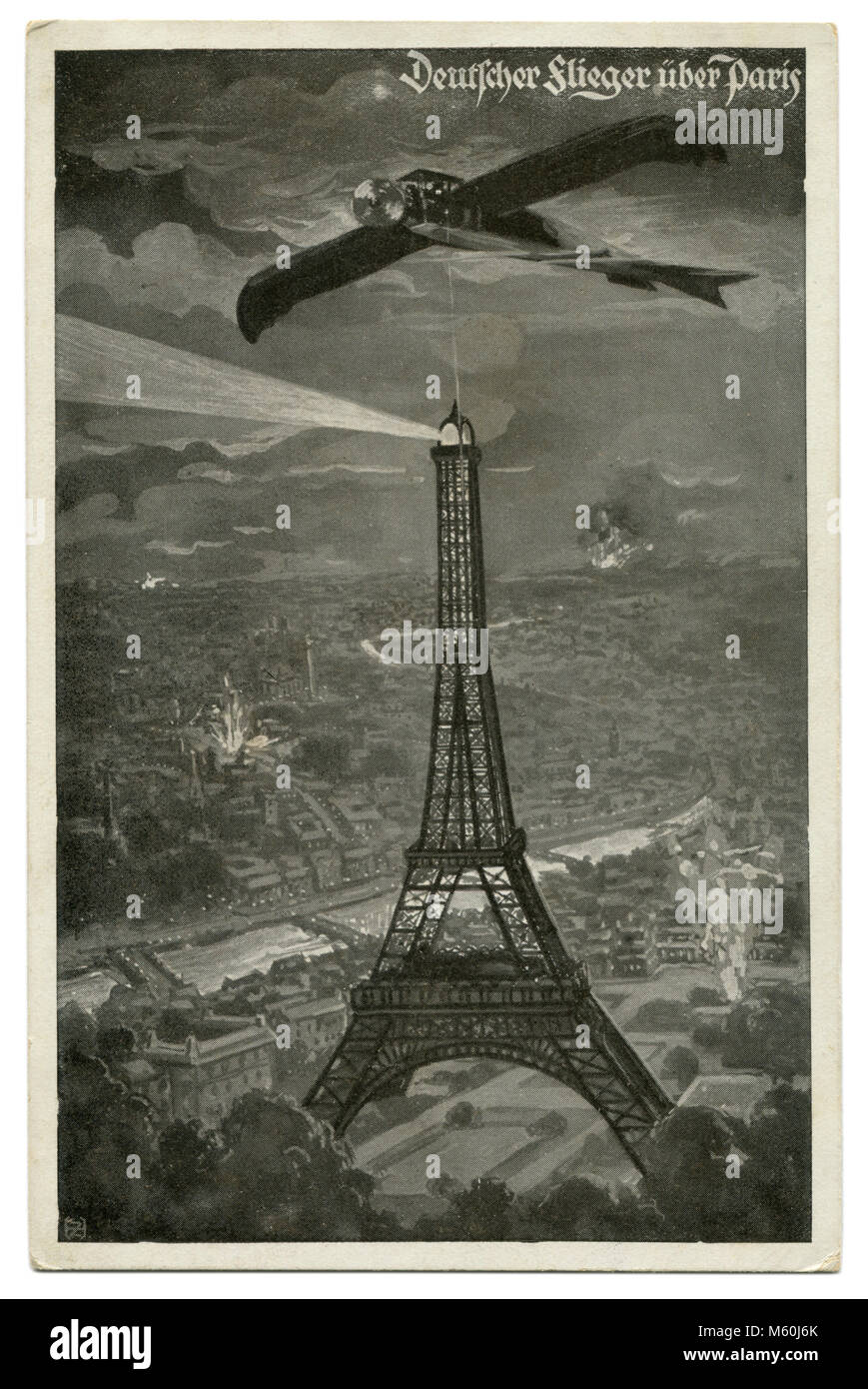 Old German postcard military airplane Taube over Paris, the Eiffel tower on the background of explosions and fires. Stock Photo